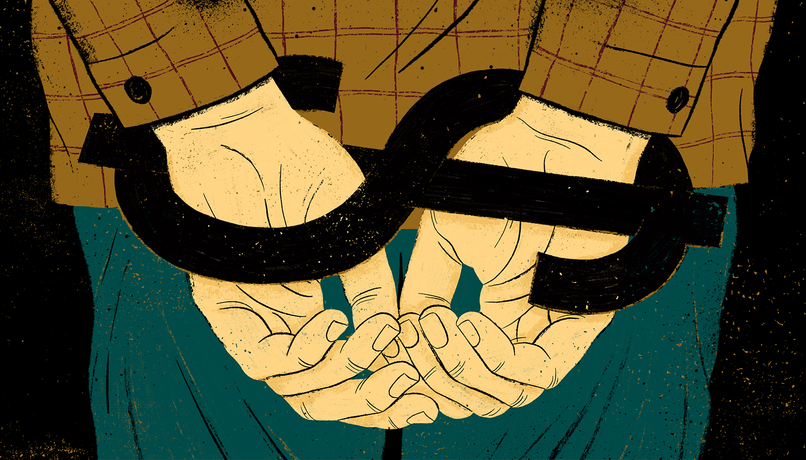 Illustration of hands locked in a dollar sign