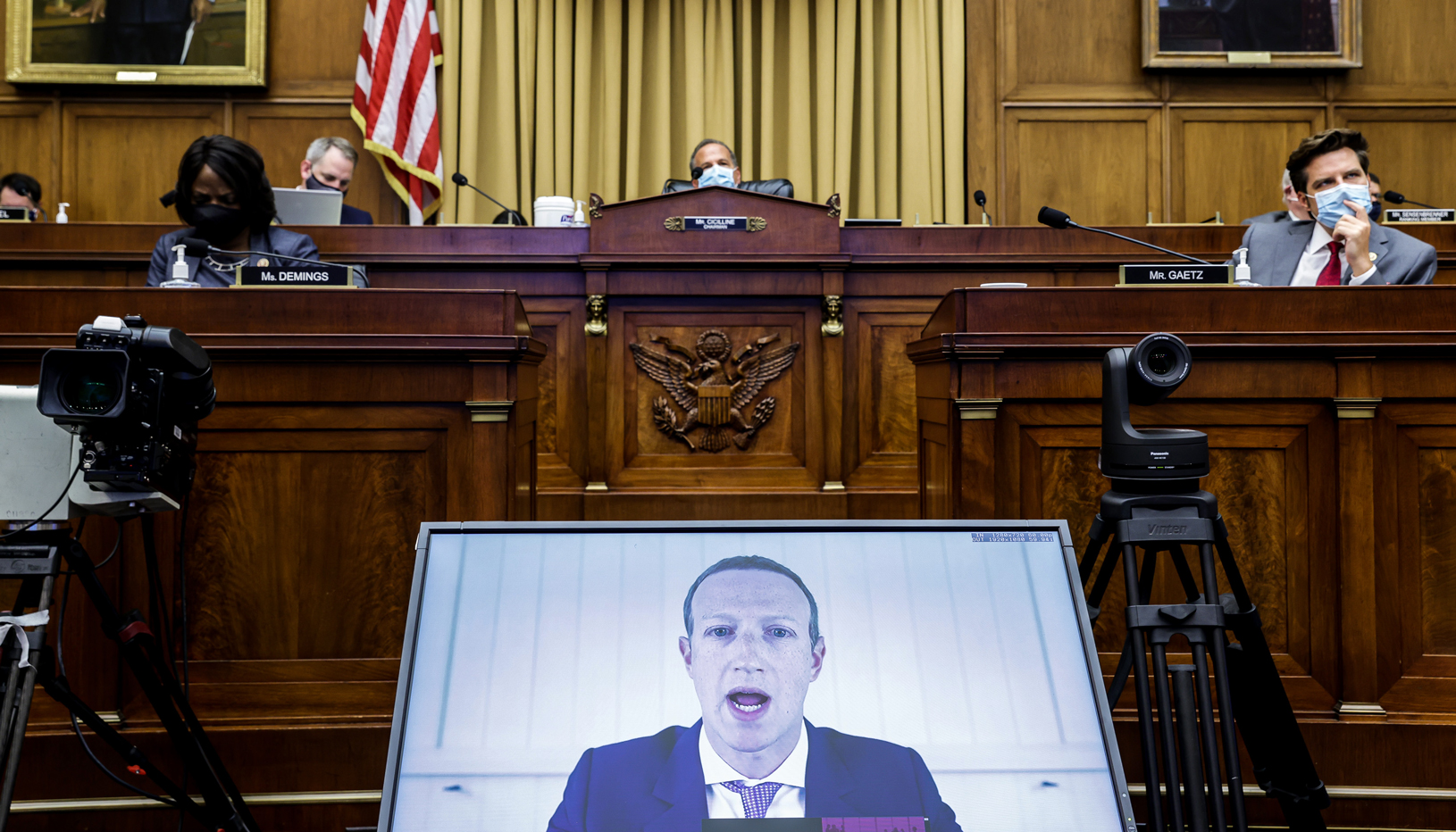 Mark Zuckerberg testifying for Congress via Zoom.