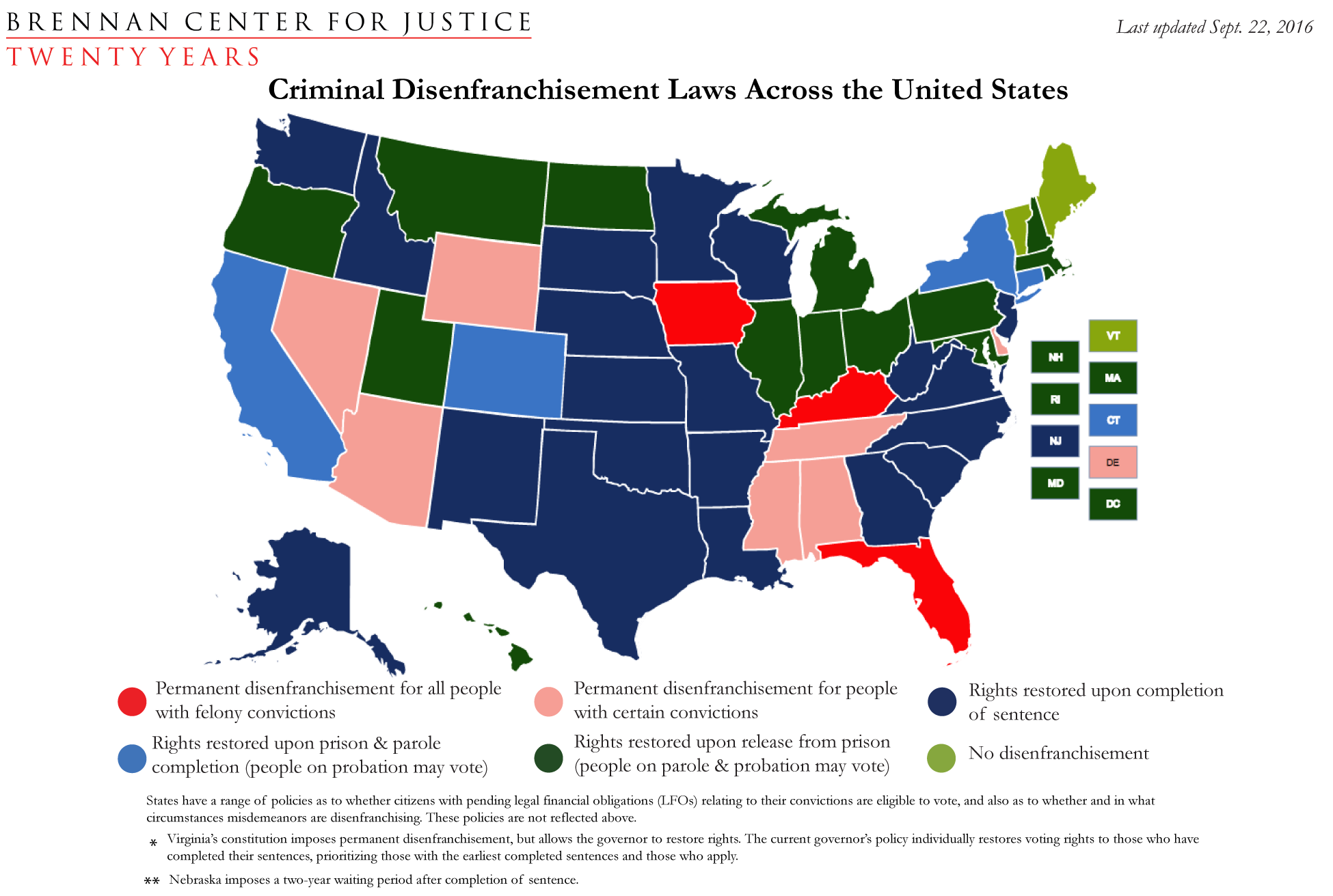 Criminal Disenfranchisement Laws Across The United States - Map of all the states in the us