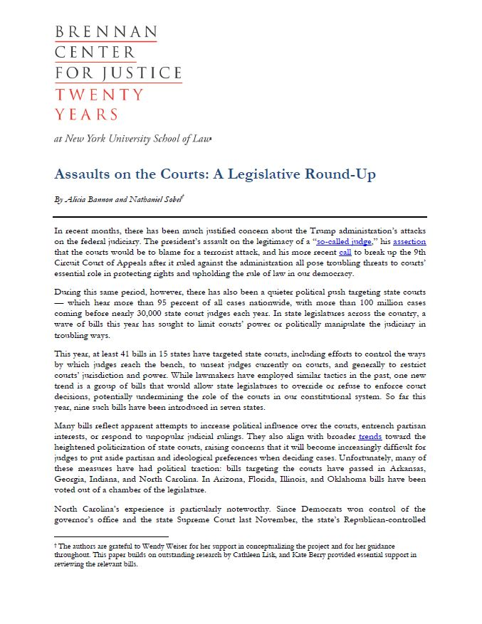 Assaults On The Courts A Legislative Round Up Brennan Center For