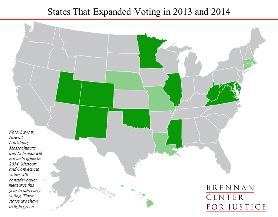 States that Expaded Voting in 2013 and 2014