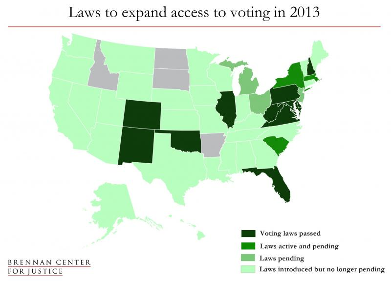 Laws to expand access to voting in 2013