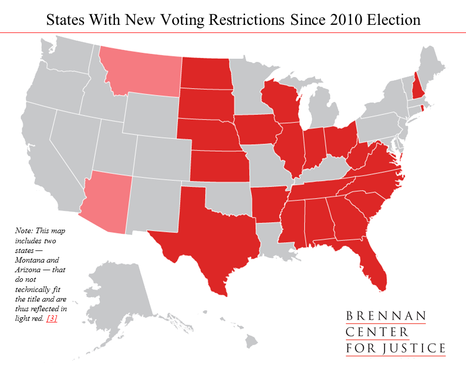 Trump Support By State Map.New Voting Restrictions In America Brennan Center For Justice