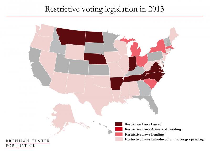 Restrictive Voting Legislation in 2013