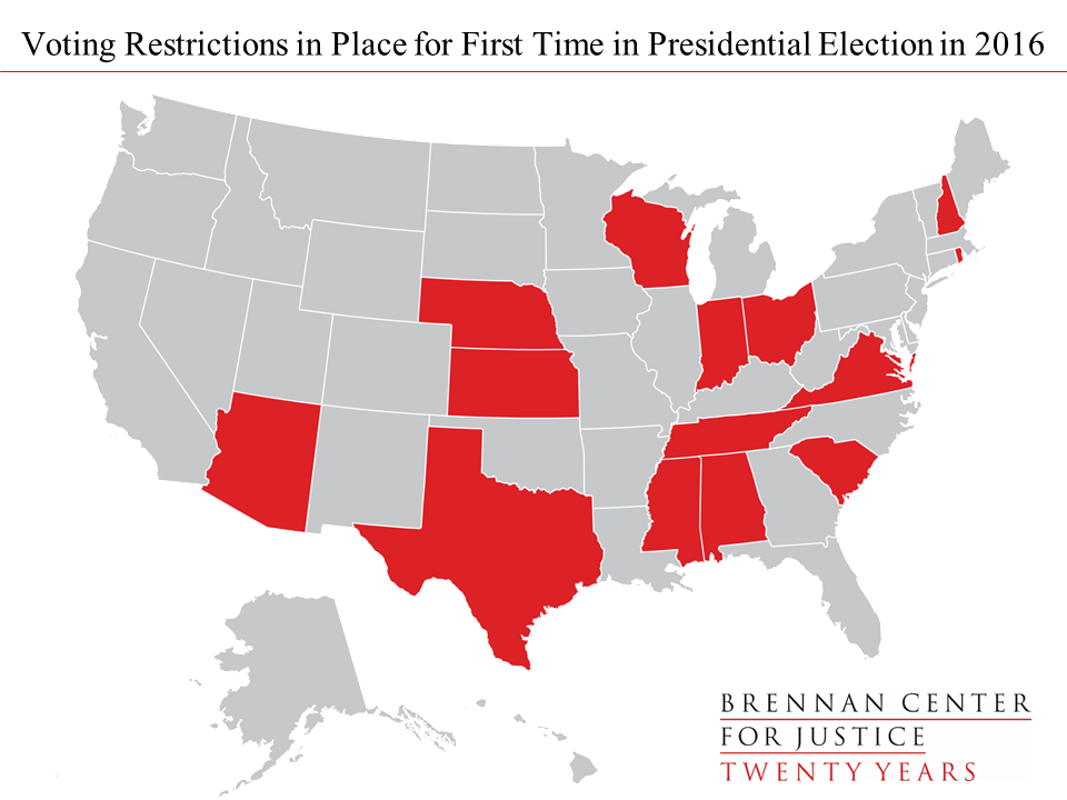 2016 Electoral State Map.Election 2016 Restrictive Voting Laws By The Numbers Brennan