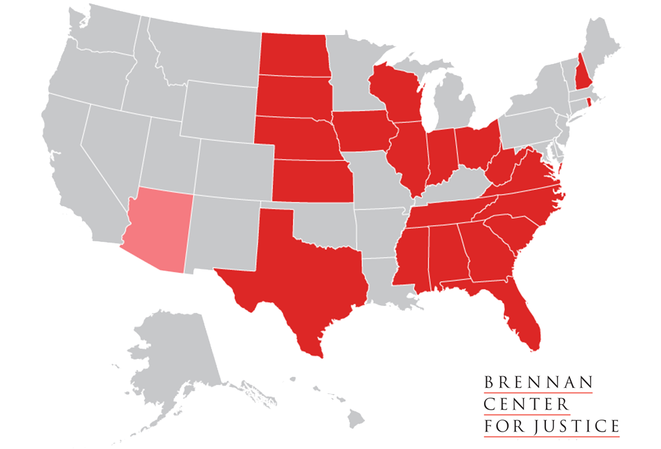 States with New Voting Restrictions Since 2010