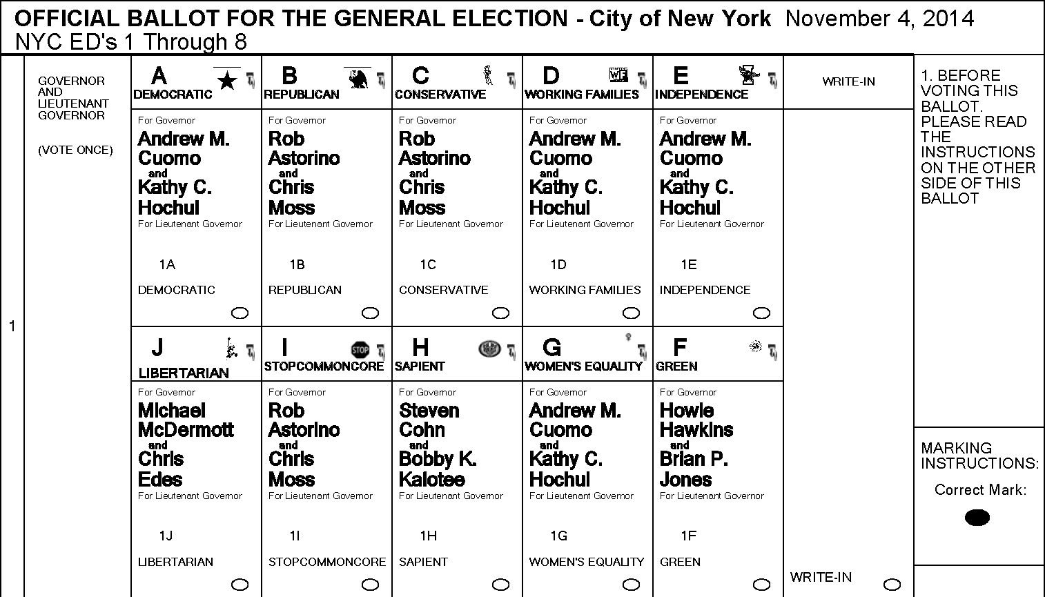 New York State sample ballot