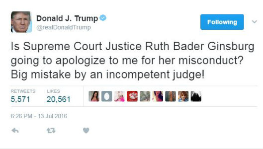 Image result for IMAGE OF TRUMP'S TWITTER ON RUTH BADER GINSBURG