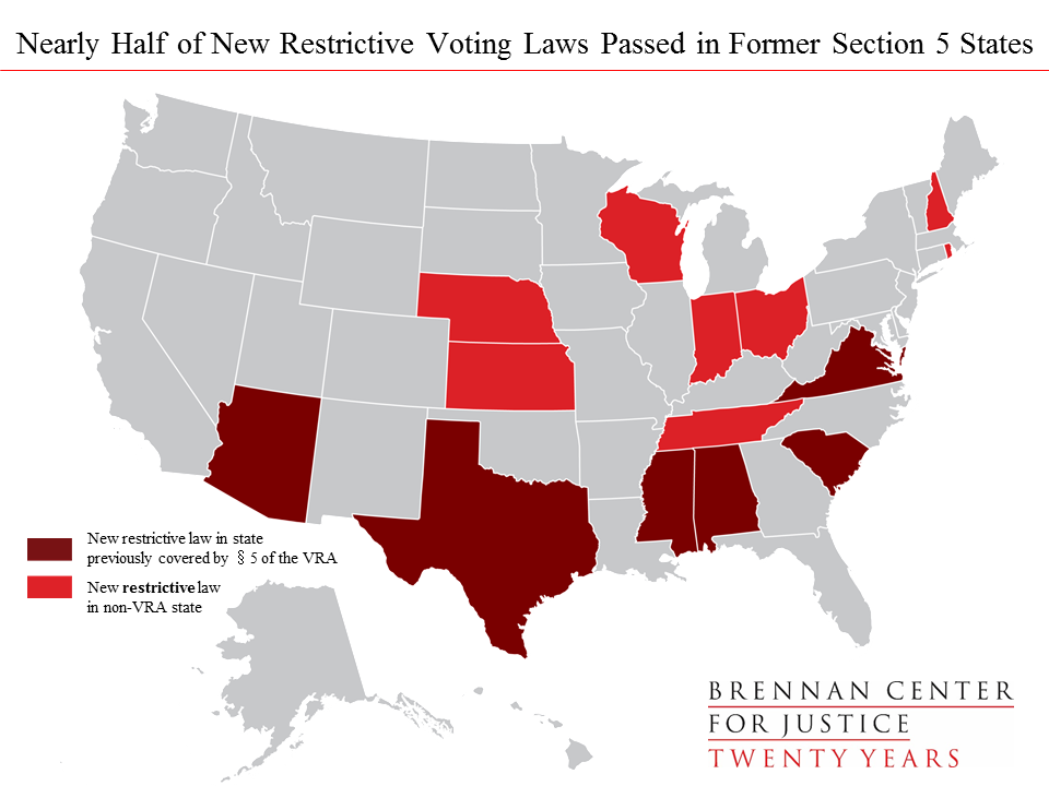 Nearly Half of New Restrictive Voting Laws in Former Sec 5 States