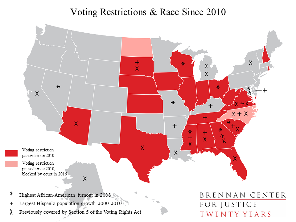 Election Restrictive Voting Laws By The Numbers Brennan - Us map voting