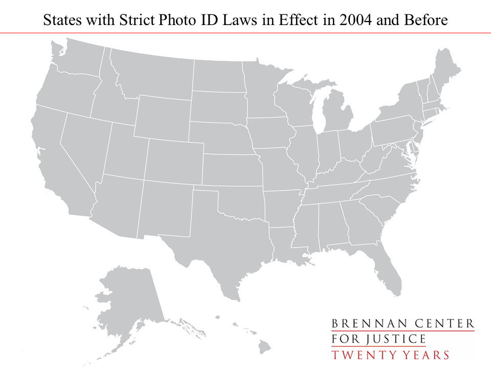 The U S Showing How Many States Had Strict Photo Id Laws In Effect In Recent Presidential Elections And How Many Are Expected To Have Them This Fall