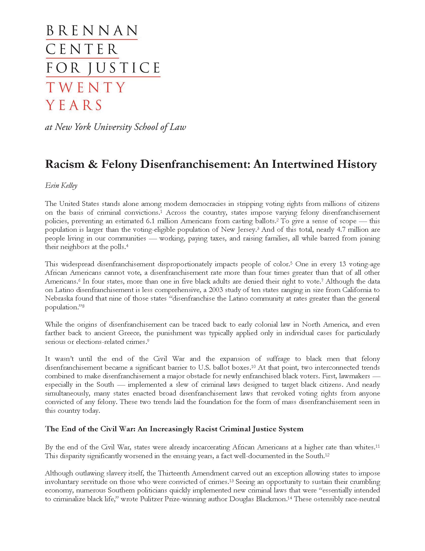 Racism Felony Disenfranchisement An Intertwined History Brennan