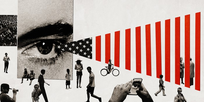 Collage with eye, flag and people: Countering Violent Extremism