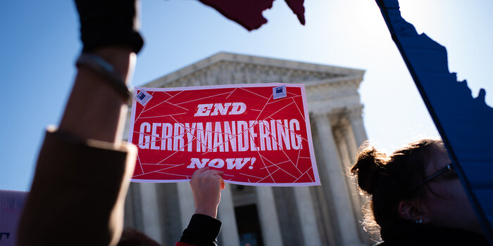 End Gerrymandering now sign: Redistricting Reform