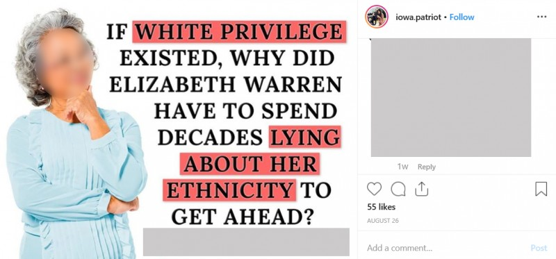 Anti-Warren social media image