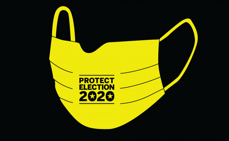 "Illustration of a facemask with the words ""Protect Election 2020"" printed on it"