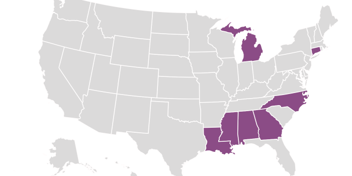 A map of the United States highlighting the states with redistricting litigation