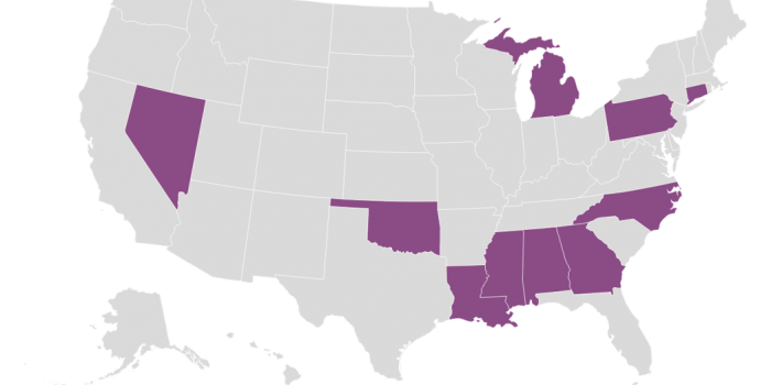 As of March 16, 2020, redistricting case are pending in: Alabama, Connecticut, Georgia, Louisiana, Michigan, Mississippi, Nevada, North Carolina, Oklahoma, and Pennsylvania.