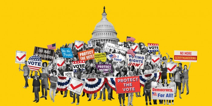 Illustration of people at a rally holding up signs.