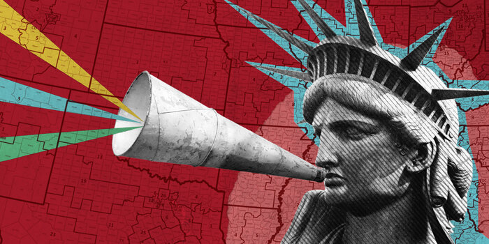 Illustration/collage of Statute of Liberty overtop map of U.S.